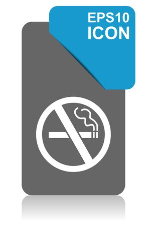 No smoking black and blue vector pointer icon on white background