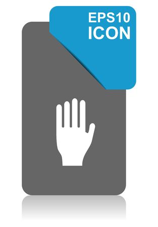 Stop black and blue vector pointer icon on white background in eps 10 Illustration