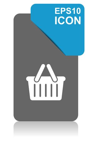 Shopping basket black and blue vector pointer icon on white background in eps 10