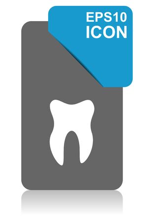 Tooth black and blue vector pointer icon on white background in eps 10