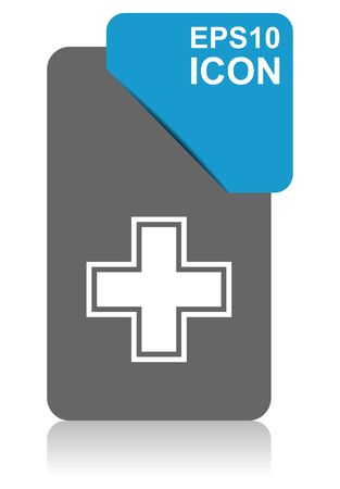 Pharmacy black and blue vector pointer icon on white background in eps 10