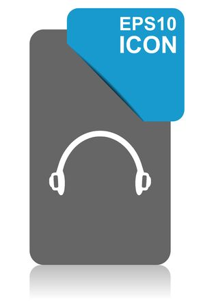 Headphones black and blue vector pointer icon on white background in eps 10