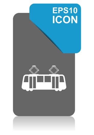 Tram black and blue vector pointer icon on white background