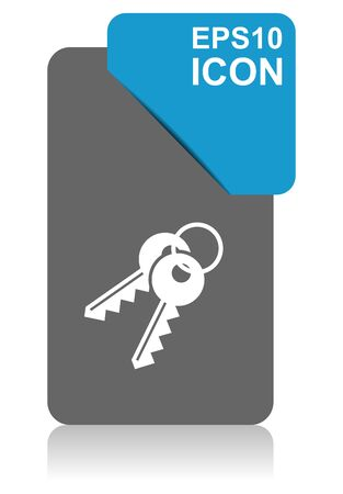 Keys black and blue vector pointer icon on white background