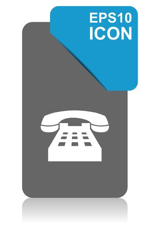Phone black and blue vector pointer icon on white background Çizim