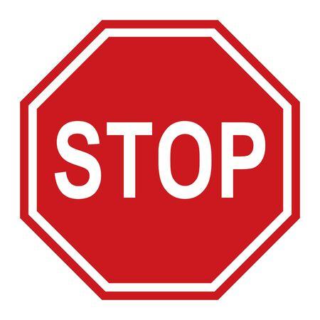 Arrêtez le panneau de signalisation, illustration vectorielle rouge pour les applications et la conception de sites Web