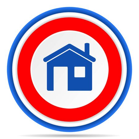 Home round icon, red, blue and white french design illustration for web, internet and mobile applications Imagens
