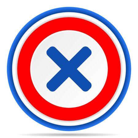 Cancel round icon, red, blue and white french design illustration for web, internet and mobile applications Imagens
