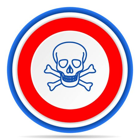 Skull round icon, red, blue and white french design illustration for web, internet and mobile applications Stok Fotoğraf