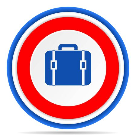 Bag round icon, red, blue and white french design illustration for web, internet and mobile applications