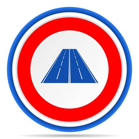 Road round icon, red, blue and white french design illustration for web, internet and mobile applications