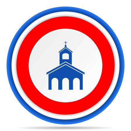 Religion, church round icon, red, blue and white french design illustration for web, internet and mobile applications
