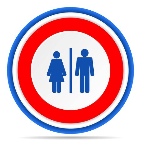 Man and Woman round icon, red, blue and white french design illustration for web, internet and mobile applications 写真素材