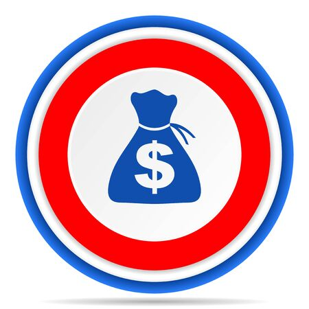 Money round icon, red, blue and white french design illustration for web, internet and mobile applications