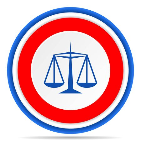 Justice round icon, red, blue and white french design illustration for web, internet and mobile applications