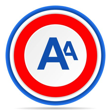 Alphabet round icon, red, blue and white french design illustration for web, internet and mobile applications 写真素材