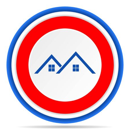Home, house round icon, red, blue and white french design illustration for web, internet and mobile applications