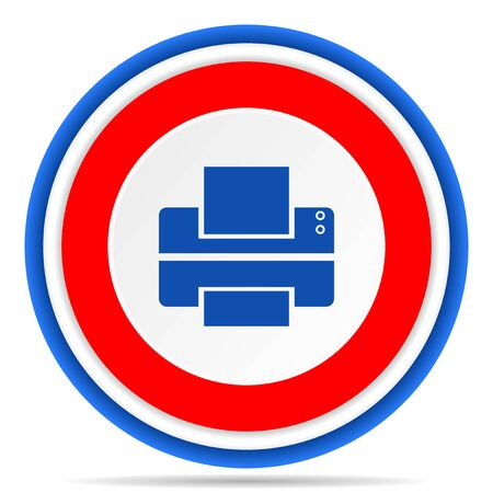 Printer round icon, red, blue and white french design illustration for web, internet and mobile applications 版權商用圖片 - 131013620