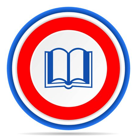 Book round icon, red, blue and white french design illustration for web, internet and mobile applications