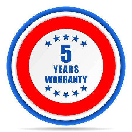 Warranty guarantee 5 year round icon, red, blue and white french design illustration for web, internet and mobile applications Banque d'images - 131013629