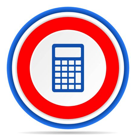 Calculator round icon, red, blue and white french design illustration for web, internet and mobile applications
