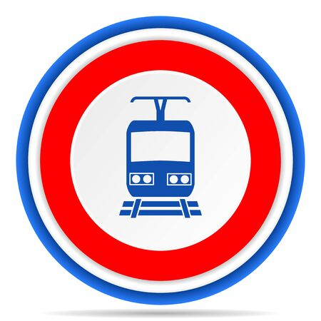 Train round icon, red, blue and white french design illustration for web, internet and mobile applications 스톡 콘텐츠