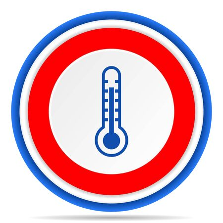 Thermometer round icon, red, blue and white french design illustration for web, internet and mobile applications