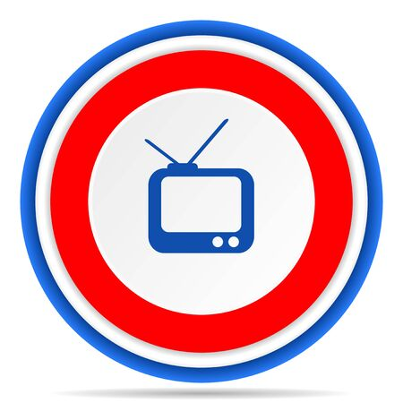 Tv round icon, red, blue and white french design illustration for web, internet and mobile applications