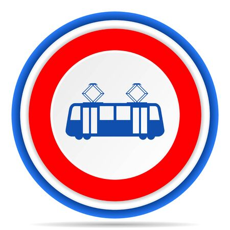 Tram round icon, red, blue and white french design illustration for web, internet and mobile applications