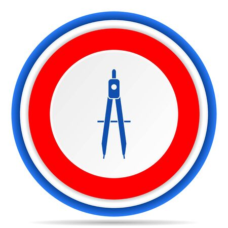 Education round icon, red, blue and white french design illustration for web, internet and mobile applications