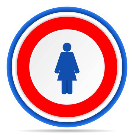 Female round icon, red, blue and white french design illustration for web, internet and mobile applications Banque d'images - 131013800
