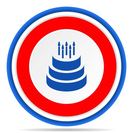 Cake round icon, red, blue and white french design illustration for web, internet and mobile applications