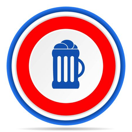 Beer round icon, red, blue and white french design illustration for web, internet and mobile applications 写真素材