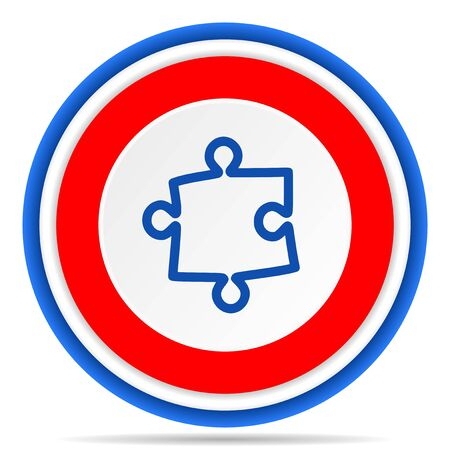 Puzzle round icon, red, blue and white french design illustration for web, internet and mobile applications