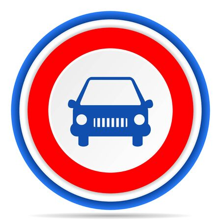 Car round icon, red, blue and white french design illustration for web, internet and mobile applications
