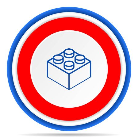 Toy brick round icon, red, blue and white french design illustration for web, internet and mobile applications Фото со стока