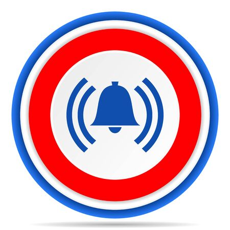 Alarm round icon, red, blue and white french design illustration for web, internet and mobile applications