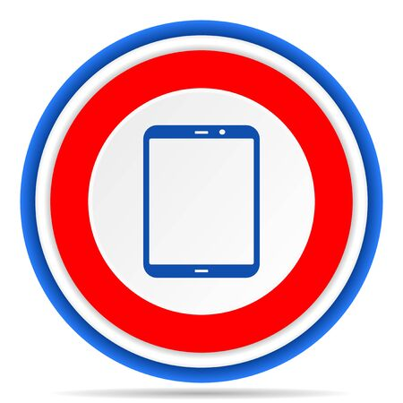 Tablet, mobile, phone, smartphone round icon, red, blue and white french design illustration for web, internet and mobile applications Imagens