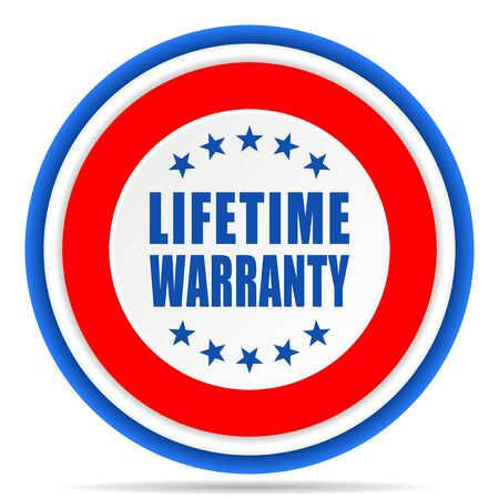 Lifetime warranty round icon, red, blue and white french design illustration for web, internet and mobile applications