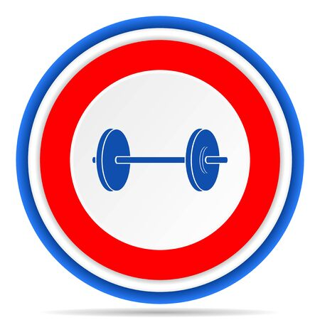 Fitness round icon, red, blue and white french design illustration for web, internet and mobile applications