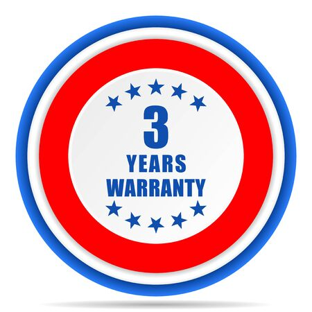 Warranty guarantee 3 year round icon, red, blue and white french design illustration for web, internet and mobile applications Banque d'images - 131014081