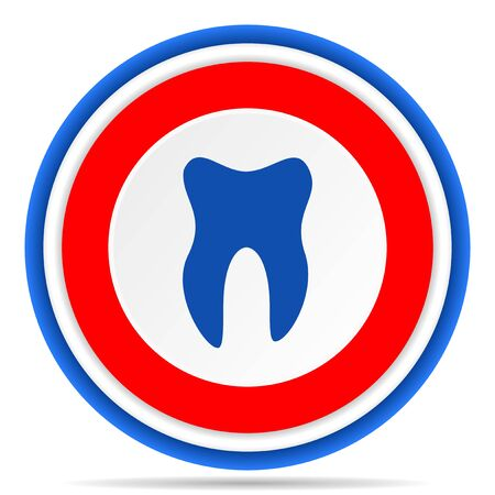 Tooth round icon, red, blue and white french design illustration for web, internet and mobile applications