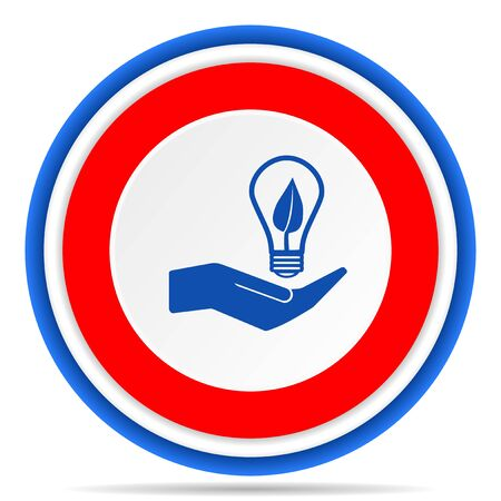 Light, idea, bulb round icon, red, blue and white french design illustration for web, internet and mobile applications