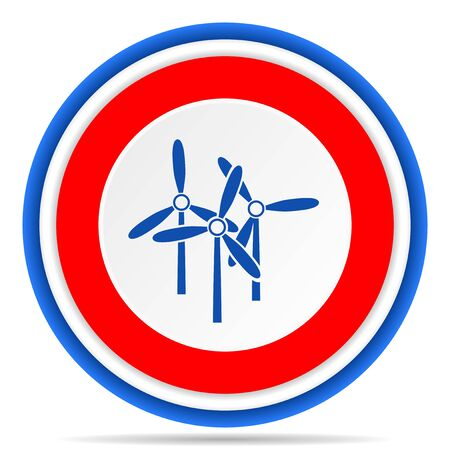 Windmill round icon, red, blue and white french design illustration for web, internet and mobile applications