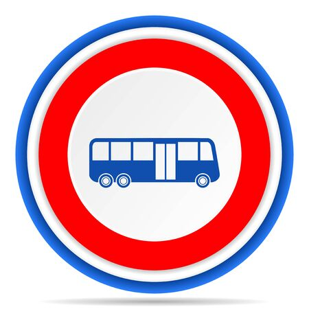 Bus round icon, red, blue and white french design illustration for web, internet and mobile applications