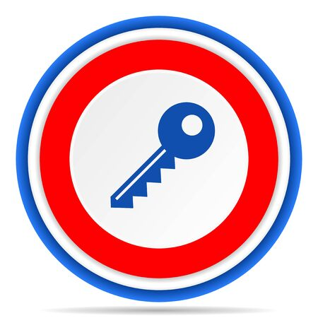 Key round icon, red, blue and white french design illustration for web, internet and mobile applications