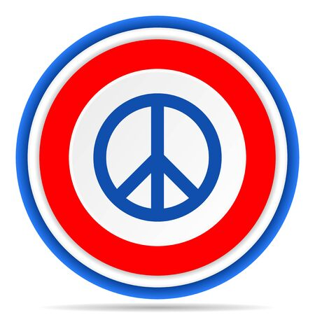 Peace round icon, red, blue and white french design illustration for web, internet and mobile applications
