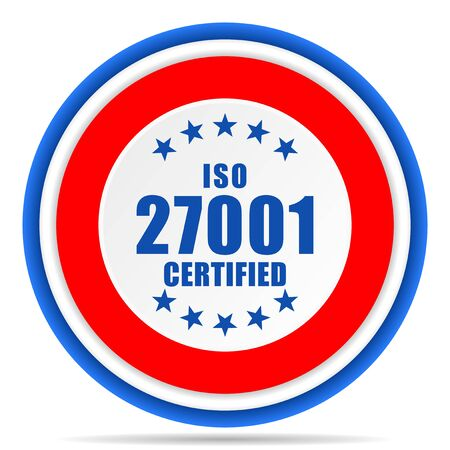 Iso 27001 round icon, red, blue and white french design illustration for web, internet and mobile applications Stok Fotoğraf