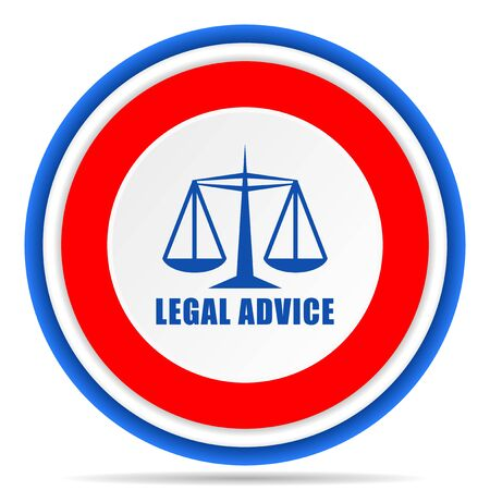Legal advice round icon, red, blue and white french design illustration for web, internet and mobile applications Reklamní fotografie
