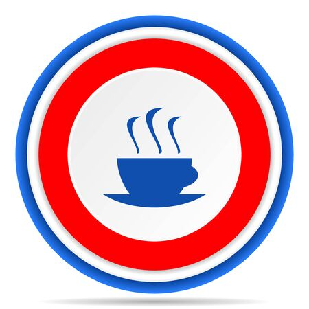 Coffee round icon, red, blue and white french design illustration for web, internet and mobile applications
